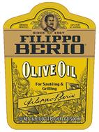 IMPORTED FROM ITALY F. PO BERIO & CO. LUCCA TRADE MARK 100% PURE ALL NATURAL SINCE 1867 FILIPPO BERIO OLIVE OIL FOR SAUTEING & GRILLING FILIPPO BERIO NET 16.9 FL OZ (1 PT 0.9 FL OZ)-500ML