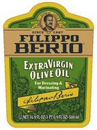 IMPORTED FROM ITALY F. PO BERIO & CO. LUCCA TRADE MARK ALL NATURAL COLD PRESSED SINCE 1867 FILIPPO BERIO EXTRA VIRGIN OLIVE OIL FOR DRESSING & MARINATING FILIPPO BERIO NET 16.9 FL OZ (1 PT 0.9 FL OZ)-500ML