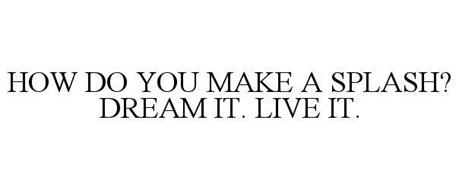 HOW DO YOU MAKE A SPLASH? DREAM IT. LIVE IT.