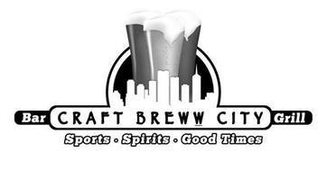 CRAFT BREWW CITY BAR GRILL SPORTS · SPIRITS · GOOD TIMES