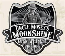 UNCLE MOSEY'S MOONSHINE CORN WHISKEY 90 PROOF PREMIUM QUALITY