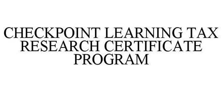 CHECKPOINT LEARNING TAX RESEARCH CERTIFICATE PROGRAM