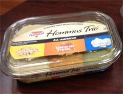 HANNAH HOMMUS TRIO FLAVORS THAT MAKE YOU SMILE ALL-AMERICAN CLASSIC ROASTED RED PEPPER ROASTED GARLIC