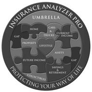 INSURANCE ANALYZER PRO PROTECTING YOUR WAY OF LIFE UMBRELLA HOME CARS & TRUCKS CURRENT INCOME GAP PROPERTY LIFESTYLE ASSETS FUTURE INCOME GAP SAVINGS & RETIREMENT COLLECTIBLES