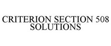 CRITERION SECTION 508 SOLUTIONS