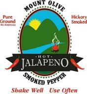 MOUNT OLIVE SMOKED PEPPER PURE GROUND NO ADDITIVES HICKORY SMOKED SHAKE WELL USE OFTEN · HOT · JALAPENO