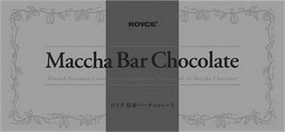ROYCE' MACCHA BAR CHOCOLATE ALMOND PECANNUT CASHEWNUT MACADAMIA NUTTY PUFF IN MACCHA CHOCOLATE
