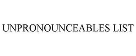 UNPRONOUNCEABLES LIST