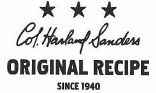 COL. HARLAND SANDERS ORIGINAL RECIPE SINCE 1940