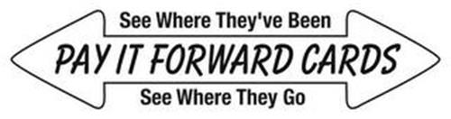 PAY IT FORWARD CARDS SEE WHERE THEY'VE BEEN SEE WHERE THEY GO