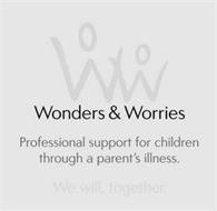 WW WONDERS & WORRIES PROFESSIONAL SUPPORT FOR CHILDREN THOUGH A PARENT'S ILLNESS. WE WILL, TOGETHER.