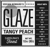 VIVIAN HOWARD'S GLAZE TANGY PEACH CAROLINA'S FINEST GREAT WITH WINGS AND SALMON AND SHRIMP AND TOFU AND VEGGIES AND SMOKE AND FRIENDS AND SUNSETSNET WT. 13.5OZ (382G)