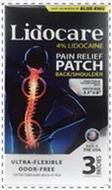 FROM THE MAKERS OF BLUE-EMU LIDOCARE 4%LIDOCAINE PAIN RELIEF PATCH BACK/SHOULDER PATENT PENDING PRESSURE ADHESIVE PATCH PATCH SIZE 2.5