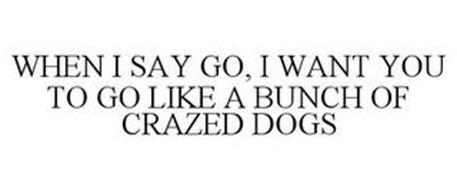 WHEN I SAY GO, I WANT YOU TO GO LIKE A BUNCH OF CRAZED DOGS