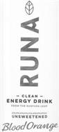 RUNA CLEAN ENERGY DRINK FROM THE GUAYUSA LEAF UNSWEETENED BLOOD ORANGE