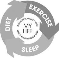 MY LIFE COMPLETE YOUR LIFE CIRCLE WITH 8 HOURS OF GREAT SLEEP DIET EXERCISE SLEEP
