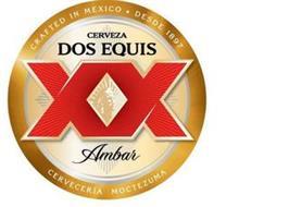 CRAFTED IN MEXICO · DESDE 1897 CERVEZA DOS EQUIS XX AMBAR CERVECERIA MOCTEZUMA
