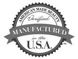 AMERICAN MADE BEAUTY VERIFIED MANUFACTURED IN THE U.S.A.