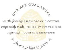 OUR BEE GUARANTEE EARTH-FRIENDLY | 100%ORGANIC COTTON RESPONSIBLY MADE | THIRD-PARTY VERIFIED SUPER SOFT | COMBED & RING-SPUN FROM OUR HIVE TO YOURS