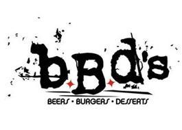 BBD'S BEERS · BURGERS · DESSERTS