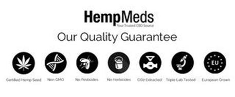 HEMPMEDS YOUR TRUSTED CBD SOURCE OUR QUALITY GUARANTEE CERTIFIED HEMP SEED NON GMO NO PESTICIDES NO HERBICIDES CO2 EXTRACTED TRIPLE LAB TESTED EU EUROPEAN GROWN