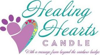 HEALING HEARTS CANDLE WITH A MESSAGE FROM BEYOND THE RAINBOW BRIDGE