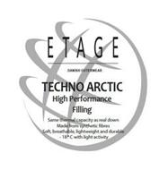 ETAGE DANISH OUTERWEAR TECHNO ARCTIC HIGH PERFORMANCE FILLING SAME THERMAL CAPACITY AS REAL DOWN MADE FROM SYNTHETIC FIBRES SOFT, BREATHABLE, LIGHTWEIGHT AND DURABLE -18°C WITH LIGHT ACTIVITY