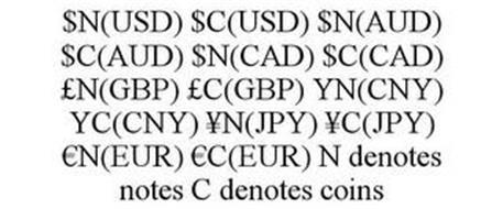 $N(USD) $C(USD) $N(AUD) $C(AUD) $N(CAD) $C(CAD) £N(GBP) £C(GBP) YN(CNY) YC(CNY) ¥N(JPY) ¥C(JPY) EURON(EUR) EUROC(EUR) N DENOTES NOTES C DENOTES COINS