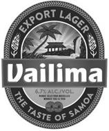 VAILIMA EXPORT LAGER THE TASTE OF SAMOA6.7% ALC./VOL. MONDE SELECTION BRUXELLES WINNER 1982 & 1998