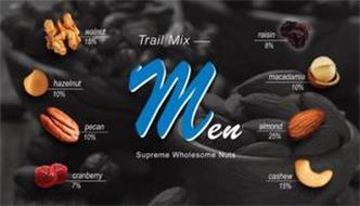 TRAIL MIX MEN SUPREME WHOLESOME NUTS WALNUT 15% HAZELNUT 10% PECAN 10% CRANBERRY 7% RAISIN 8% MACADAMIA 10% ALMOND 25% CASHEW 15%