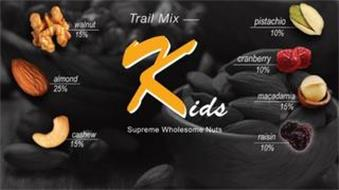 TRAIL MIX KIDS SUPREME WHOLESOME NUTS WALNUT 15% ALMOND 25% CASHEW 15% PISTACHIO 10% CRANBERRY 10% MACADAMIA 15% RAISIN 10%