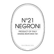 N° 21 NEGRONI PRODUCT OF ITALY