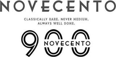 NOVECENTO CLASSICALLY RARE. NEVER MEDIUM. ALWAYS WELL DONE. 900 NOVECENTO