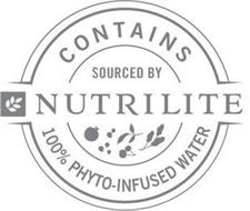 NUTRILITE CONTAINS 100% PHYTO-INFUSED WATER SOURCED BY NUTRILITE