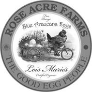 ROSE ACRE FARMS THE GOOD EGG PEOPLE NATURAL BLUE EGGS FROM LOIS MARIE'S ARAUCANA HENS FREE RANGE BLUE ARAUCANA EGGS LOIS MARIE'S CERTIFIED ORGANIC