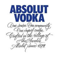 ABSOLUT VODKA ONE SOURCE. ONE COMMUNITY. ONE SUPERB VODKA. CRAFTED IN THE VILLAGE OF ÅHUS, SWEDEN. ABSOLUT SINCE 1879.