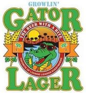 GROWLIN GATOR LAGER THE BEER WITH A BITE FAVORITE OF LOUNGE LIZARDS EVERYWHERE