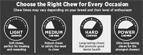 CHOOSE THE RIGHT CHEW FOR EVERY OCCASION CHEW TIMES MAY VARY DEPENDING ON YOUR BREED AND THEIR LEVEL OF ENTHUSIASM LIGHT CHEWER SOFT CHEWS, PERFECT FOR TREATING AND REWARDING MEDIUM CHEWER ROBUST CHEWS TO SATISFY THE NEED TO CHEW HARD CHEWER LONG-LASTING CHEWS THAT PROMOTE GOOD DENTAL HEALTH POWER CHEWER ULTRA LONG-LASTING CHEWS FOR THE STRONGEST CHEWERS