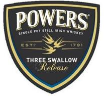 POWERS SINGLE POT STILL IRISH WHISKEY ESTD. 1791 THREE SWALLOW RELEASE
