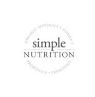 SIMPLE NUTRITION ORGANIC MINERALS · OMEGA-3 PROBIOTICS · PREBOTICS
