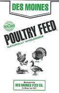 DES MOINES POULTRY FEED NATURALLY WHOLESOME MADE WITH NON-GMO INGREDIENTS MANUFACTURED BY DES MOINES FEED CO. DES MOINES, IOWA 50317