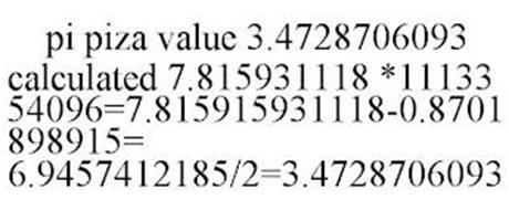 PI PIZA VALUE 3.4728706093 CALCULATED 7.815931118 *1113354096=7.815915931118-0.8701898915= 6.9457412185/2=3.4728706093