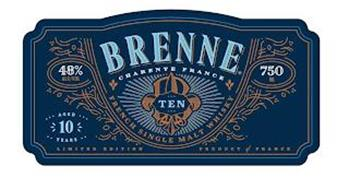 BRENNE CHARENTE FRANCE TEN FRENCH SINGLE MALT WHISKY 48% ALC/VOL AGED 10 YEARS LIMITED EDITION 750 ML PRODUCT OF FRANCE
