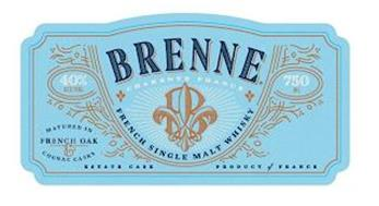 BRENNE CHARENTE FRANCE B FRENCH SINGLE MALT WHISKY 40% ALC/VOL MATURED IN FRENCH OAK & COGNAC CASKS ESTATE CASK 750 ML PRODUCT OF FRANCE
