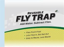 REUSABLE FLY TRAP ADD WATER. SUBTRACT FLIES. FLIES FIND IT FAST LETS FLIES IN, BUT NOT OUT EASY TO REUSE, LESS WASTE