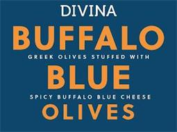 DIVINA BUFFALO BLUE OLIVES GREEK OLIVES STUFFED WITH SPICY BUFFALO BLUE CHEESE