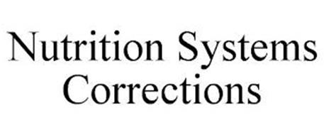 NUTRITION SYSTEMS CORRECTIONS