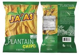 JA'AS PLANTAIN CHIPS 100% NATURAL