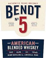 AUTHENTIC TEXAS WHISKEY BENDT NO 5 STRAIGHT IS GOOD BENDT IS BETTER CRAFT AMERICAN MADE BLENDED WHISKEY AGED IN: OAK ALC BY VOL: 41.5% ALC PROOF: 83 BOTTLE SIZE: 750ML BENDT DISTILLING CO., LEWISVILLE, TEXAS