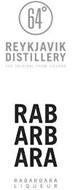 64 REYKJAVIK DISTILLERY THE ORIGINAL FROM ICELAND RAB ARB ARA RABARBARA LIQUEUR